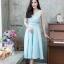 ชุดเดรสเกาหลี พร้อมส่ง Dress ผ้าไหมคอวี thumbnail 3