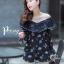 เสื้อผ้าเกาหลี พร้อมส่ง จั๊มสุท แขนยาวพิมพ์ลายแต่งลูกไม้ thumbnail 3