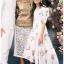 เดรสเกาหลี พร้อมส่ง ชุดเดรส ผ้าคอตตอนสีขาวปักลายดอกไม้ thumbnail 11