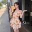 เดรสเกาหลี พร้อมส่ง มินิเดรส ลายดอกทิวลิปส้มๆ thumbnail 2
