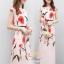 ชุดเดรสเกาหลี พร้อมส่ง เดรสยาว ผ้าซาตินซิลพิมพ์ลาย thumbnail 5