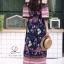 ชุดเดรสเกาหลี พร้อมส่ง Maxi dress ปริ้นลายดอกแต่งเชิงชาย thumbnail 15