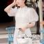 เดรสเกาหลี พร้อมส่ง เดรสสีขาว เนื้อผ้าTulleแบบโปร่ง thumbnail 5