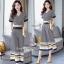 เสื้อผ้าเกาหลี พร้อมส่ง เสื้อกับกางเกง สีกรมพิมพ์ลายตาราง thumbnail 1
