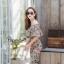 เสื้อผ้าเกาหลี พร้อมส่ง จั๊มสูท ปาดไหล่ขายาวพิมพ์ลายดอก thumbnail 6