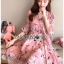เดรสเกาหลี พร้อมส่ง ชุดเดรส สีชมพูพิมพ์ลายดอกไม้ thumbnail 3