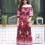 ชุดเดรสเกาหลี พร้อมส่ง Maxi dress ปริ้นลายดอกแต่งเชิงชาย thumbnail 4