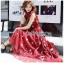 เดรสเกาหลี พร้อมส่ง เดรสยาว ผ้าชีฟองสีแดงพิมพ์ลาย thumbnail 9